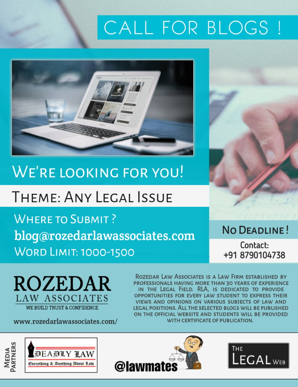 Call for Blogs: Rozedar Law Associates: Rolling Submissions : No Deadline